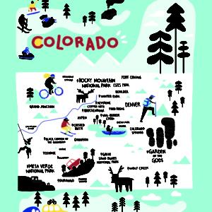 Colorado Icons Tea Towel